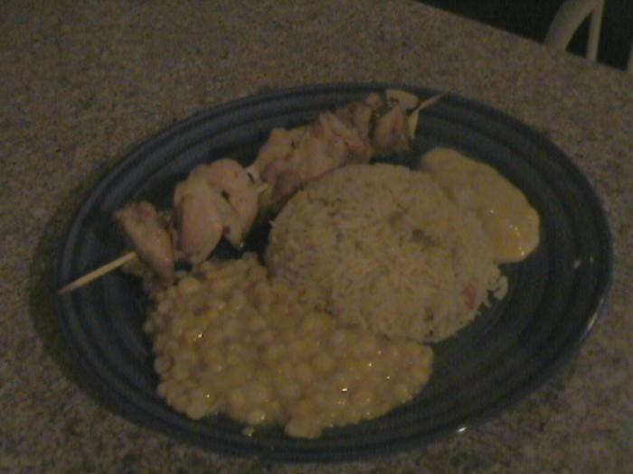 Skewered Chicken with Curry Yogurt Sauce